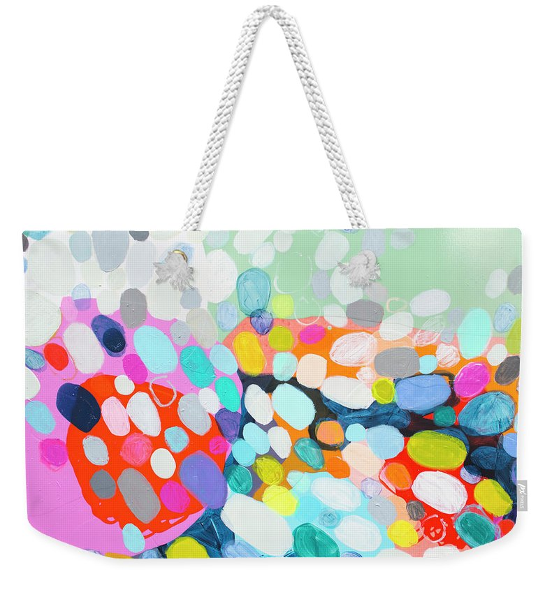 Abstract Weekender Tote Bag featuring the painting Flushed by Claire Desjardins