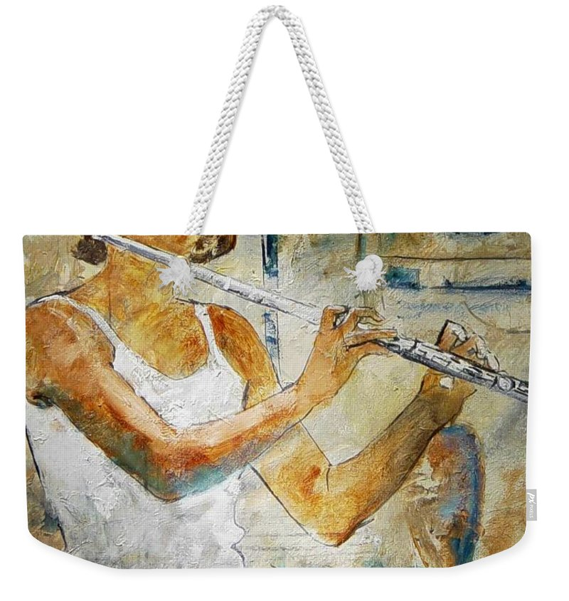 Music Weekender Tote Bag featuring the painting Flutist by Pol Ledent