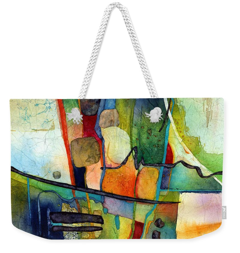 Abstract Weekender Tote Bag featuring the painting Fluvial Mosaic by Hailey E Herrera
