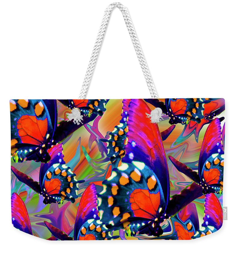 Butterfly Weekender Tote Bag featuring the digital art Fly Away by Betsy Knapp