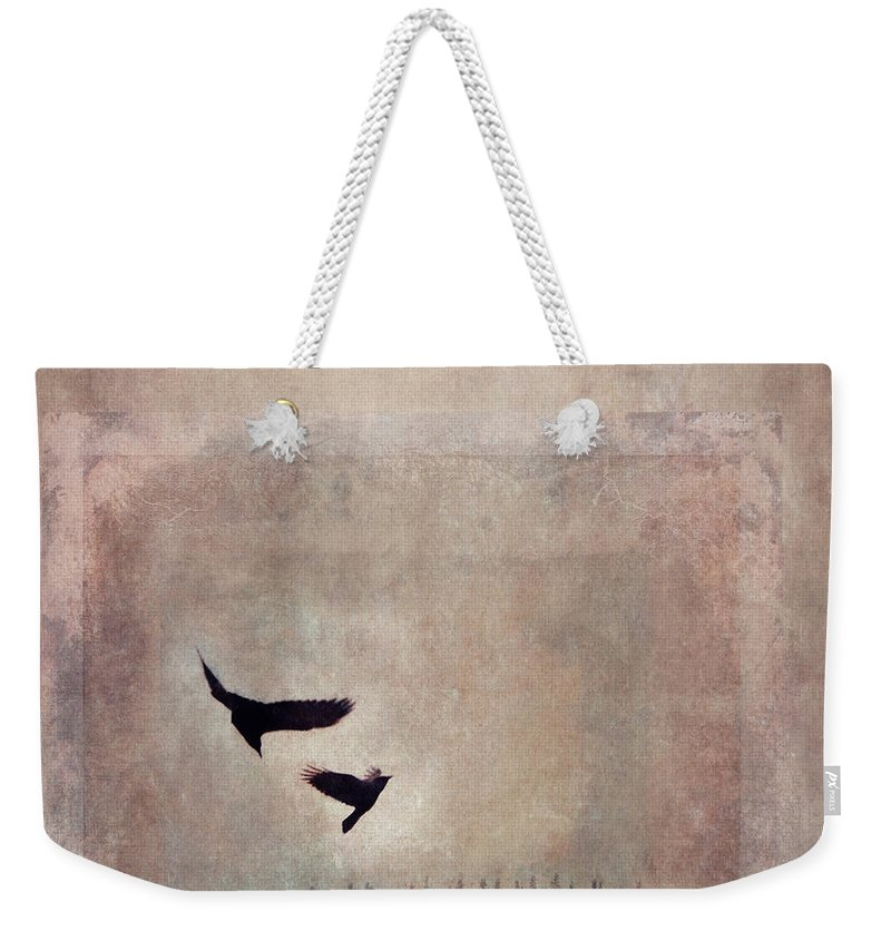 Raven Weekender Tote Bag featuring the photograph Fly Dance by Priska Wettstein