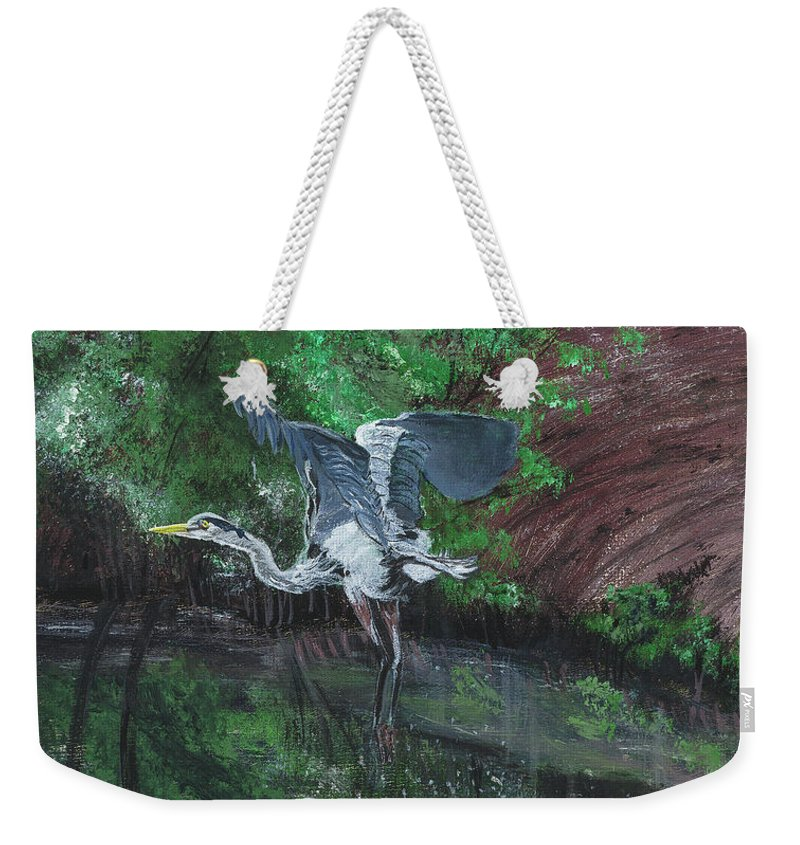 Heron Weekender Tote Bag featuring the painting Fly Me Away To Little River by Donna Mann