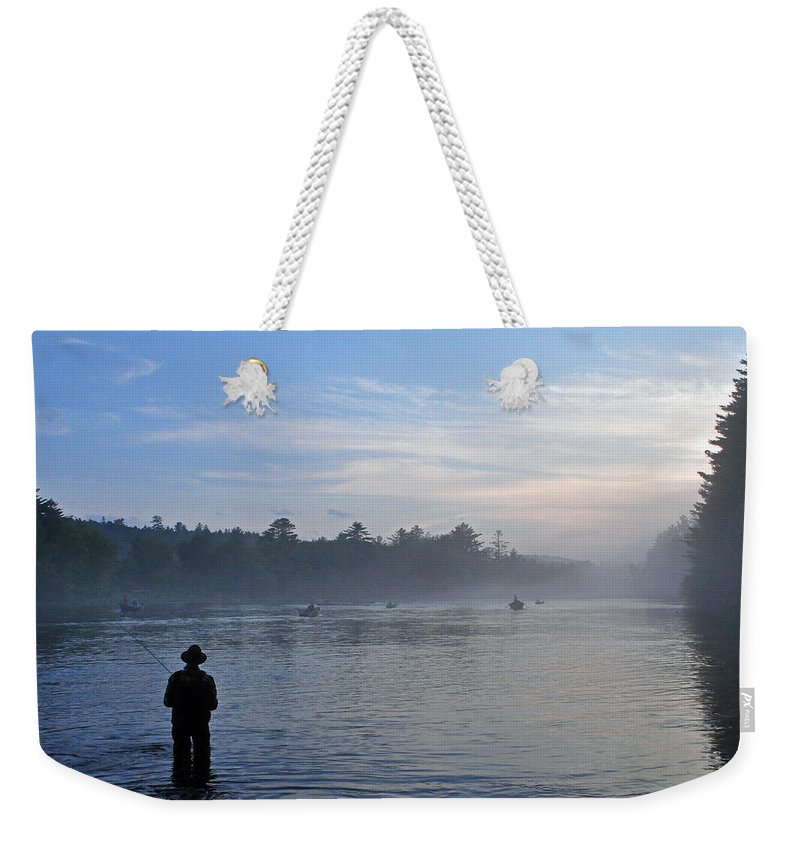 Flyfisherman Weekender Tote Bag featuring the photograph Flyfishing In Maine by Glenn Gordon