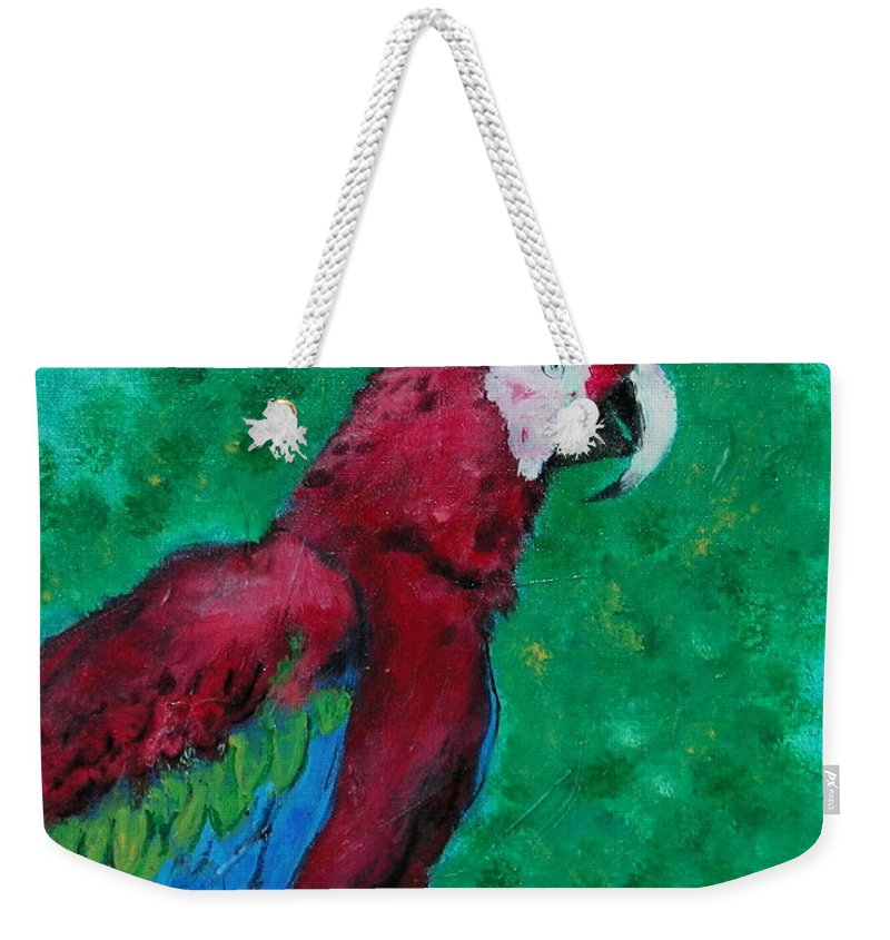 Parrot Weekender Tote Bag featuring the painting Flying Colors by Cori Solomon