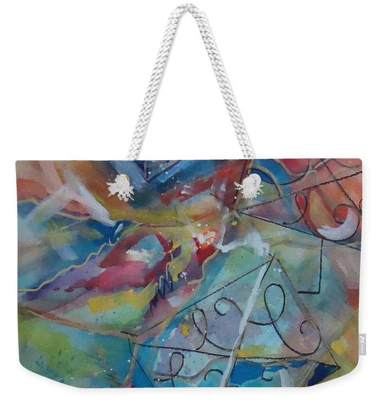 Colors And Shapes Move The C's Around. Abstract Weekender Tote Bag featuring the mixed media Flying Cs by Charme Curtin