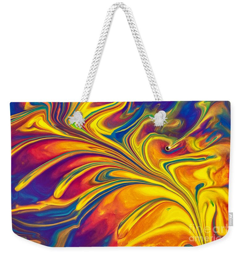 Abstract Weekender Tote Bag featuring the painting Flying Duck by Patti Schulze