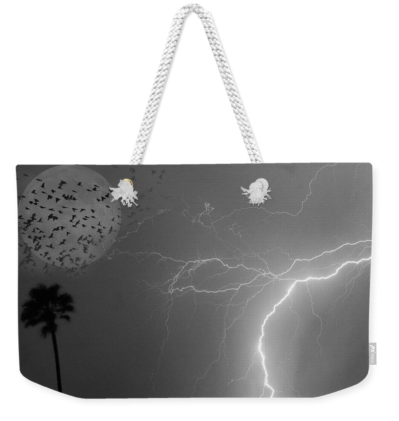 Black And White Weekender Tote Bag featuring the photograph Flying From The Storm Bw by James BO Insogna