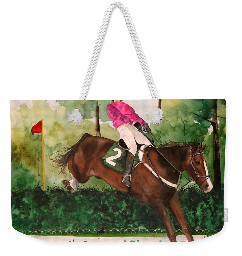 Horse Weekender Tote Bag featuring the painting Flying High by Jean Blackmer