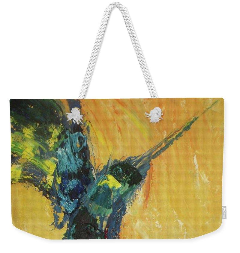 Hummingbird Weekender Tote Bag featuring the painting Hummingbird by Vesna Antic