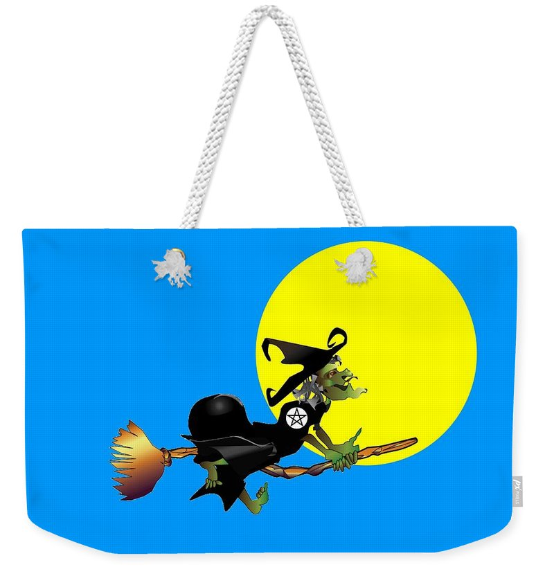 Religion Weekender Tote Bag featuring the digital art Flying Pentacle Witch by Frederick Holiday