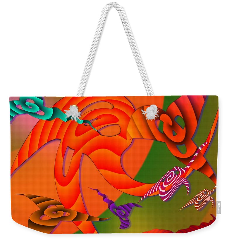 Triangles Weekender Tote Bag featuring the digital art Flying Triangles by Helmut Rottler