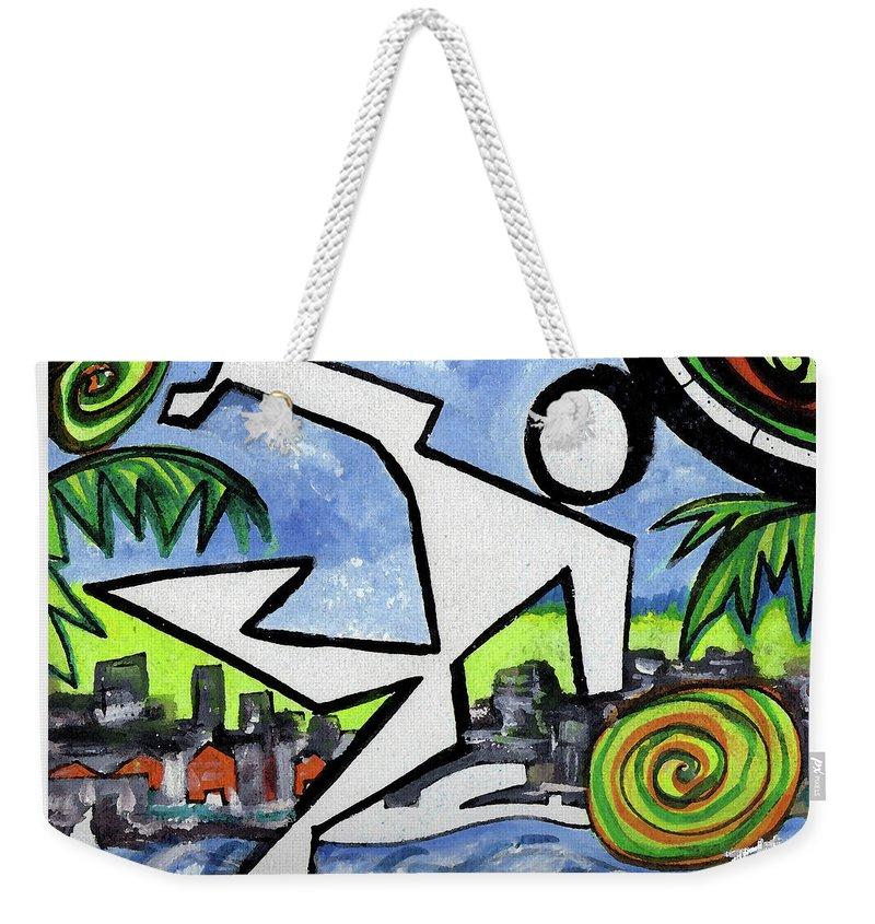 Abstract Weekender Tote Bag featuring the painting Flyingboyeee by Jorge Delara