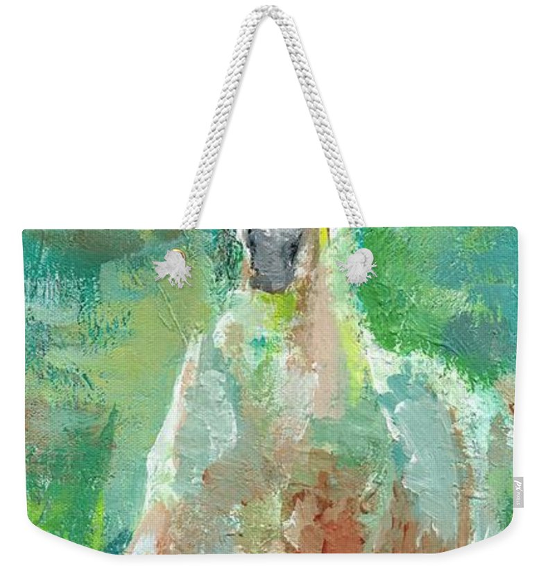 Horse Weekender Tote Bag featuring the painting Foal With Shades Of Green by Frances Marino