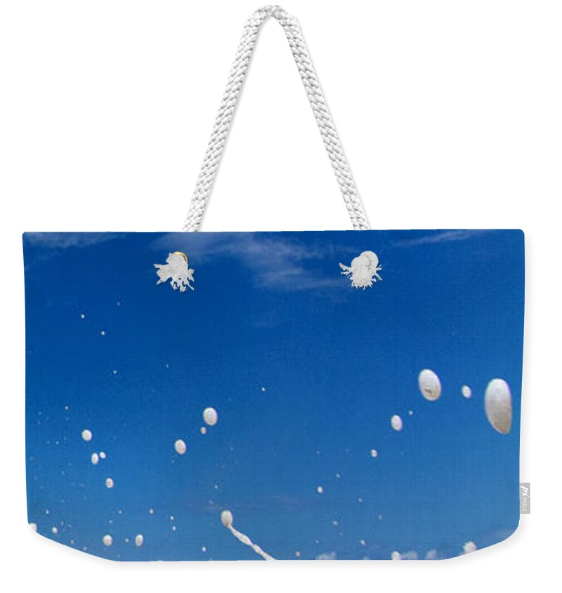 Beach Foam Weekender Tote Bag featuring the photograph Foam Burst - Triptych - 3 Of 3 by Sean Davey