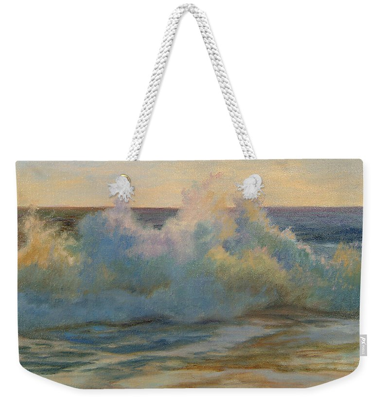 Waves Weekender Tote Bag featuring the painting Foaming Ocean Waves by Phyllis Tarlow