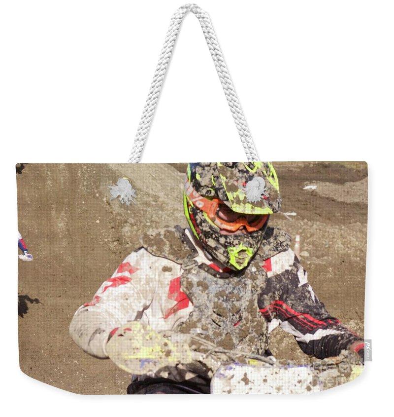 Dirt Bike Weekender Tote Bag featuring the photograph Focus by Ellen Flayderman
