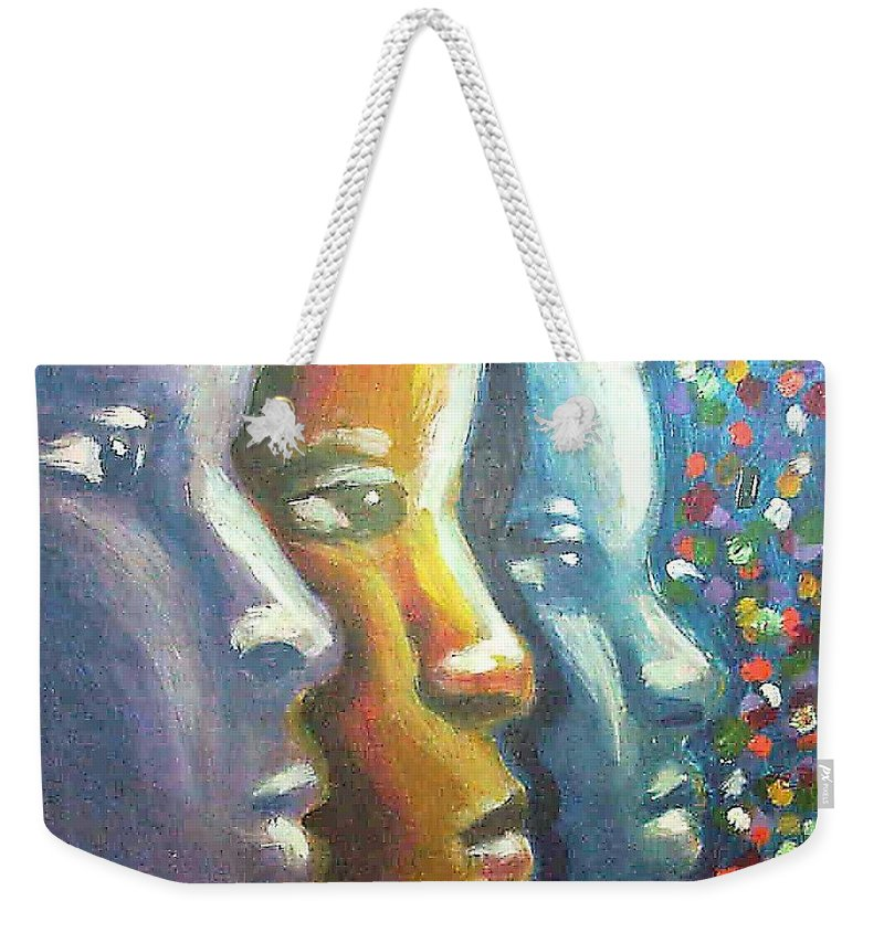 Color Weekender Tote Bag featuring the painting Focus by Jan Gilmore