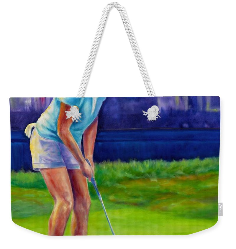 Woman Weekender Tote Bag featuring the painting Focus by Shannon Grissom