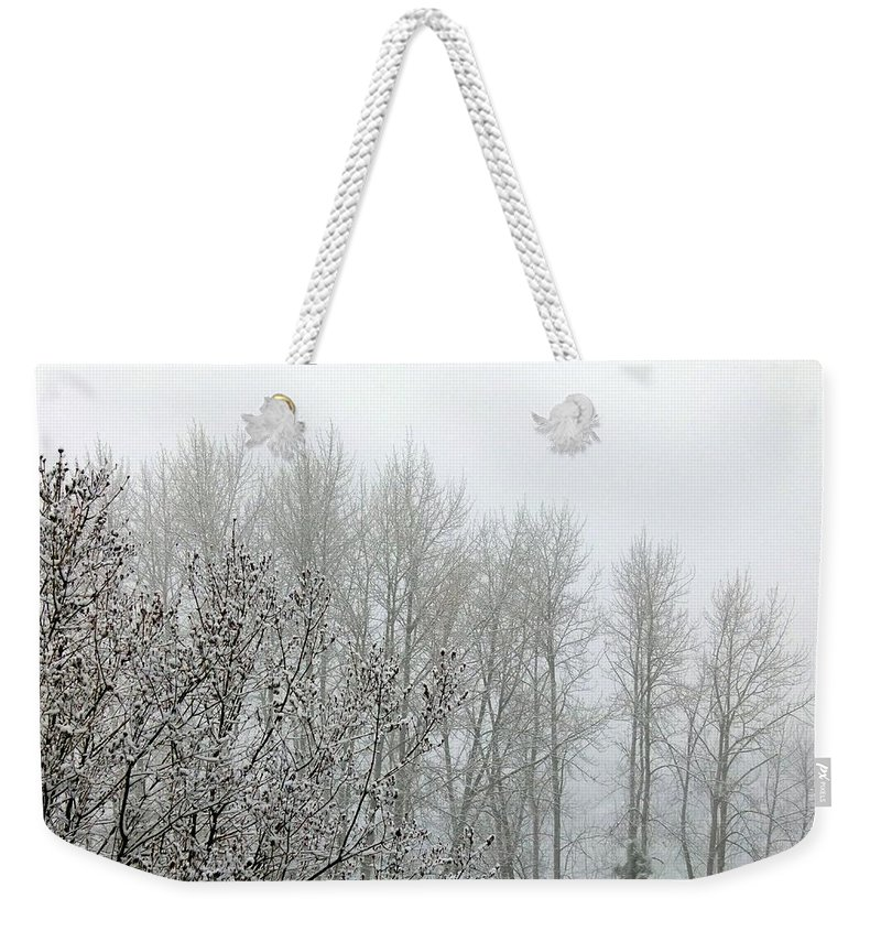 Fog Weekender Tote Bag featuring the photograph Fog And Light Snow by Will Borden