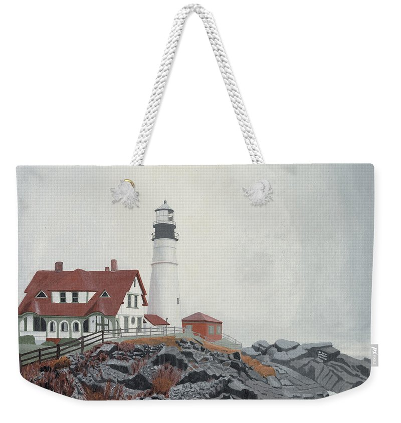 Lighthouse Weekender Tote Bag featuring the painting Fog Approaching Portland Head Light by Dominic White