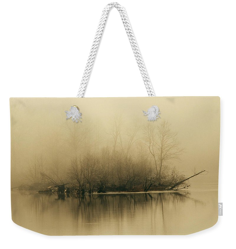 Day Weekender Tote Bag featuring the photograph Fog Hovers Above The James River by Raymond Gehman