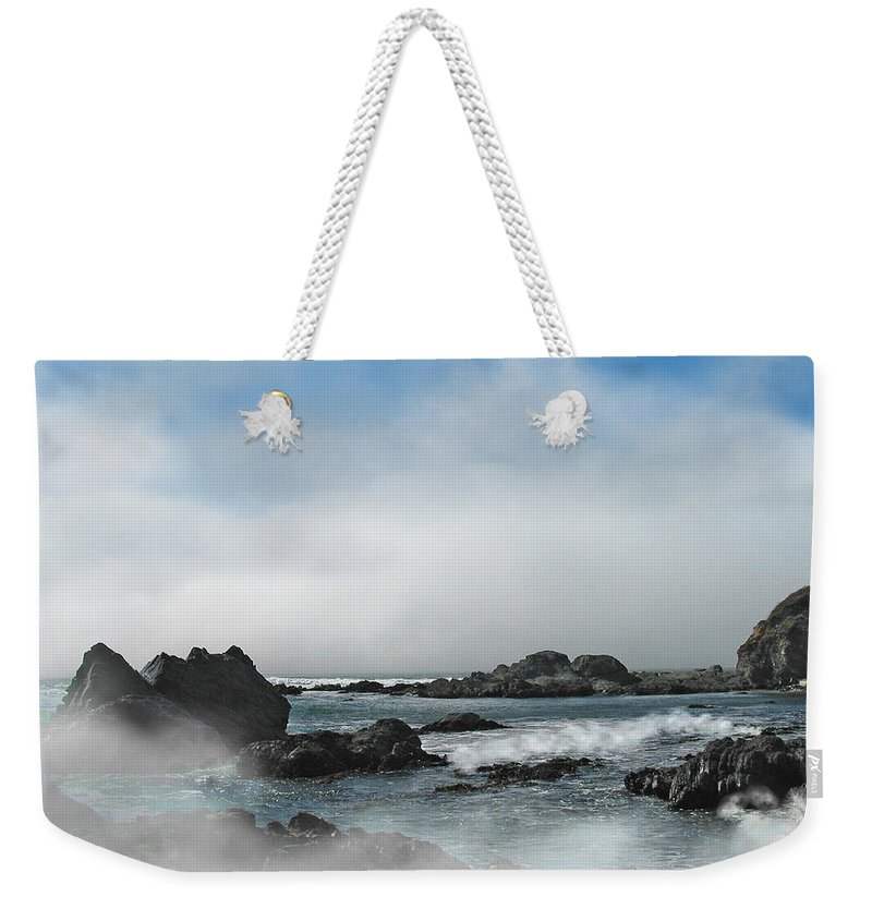 Ocean Weekender Tote Bag featuring the photograph Fog Lift by Karen W Meyer