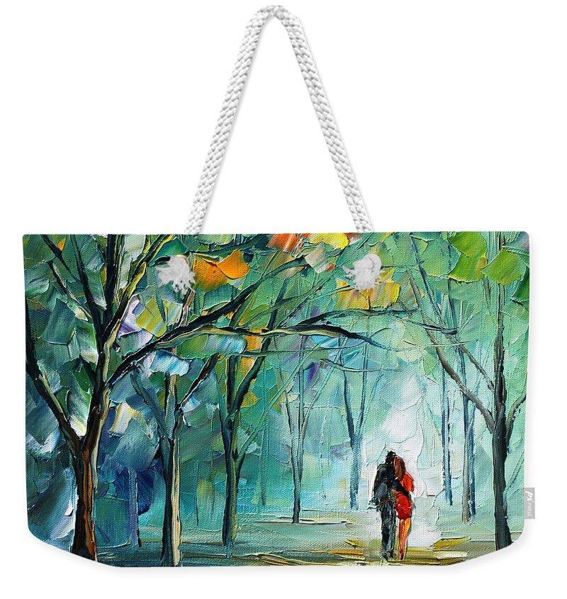 Afremov Weekender Tote Bag featuring the painting Fog Of Love by Leonid Afremov