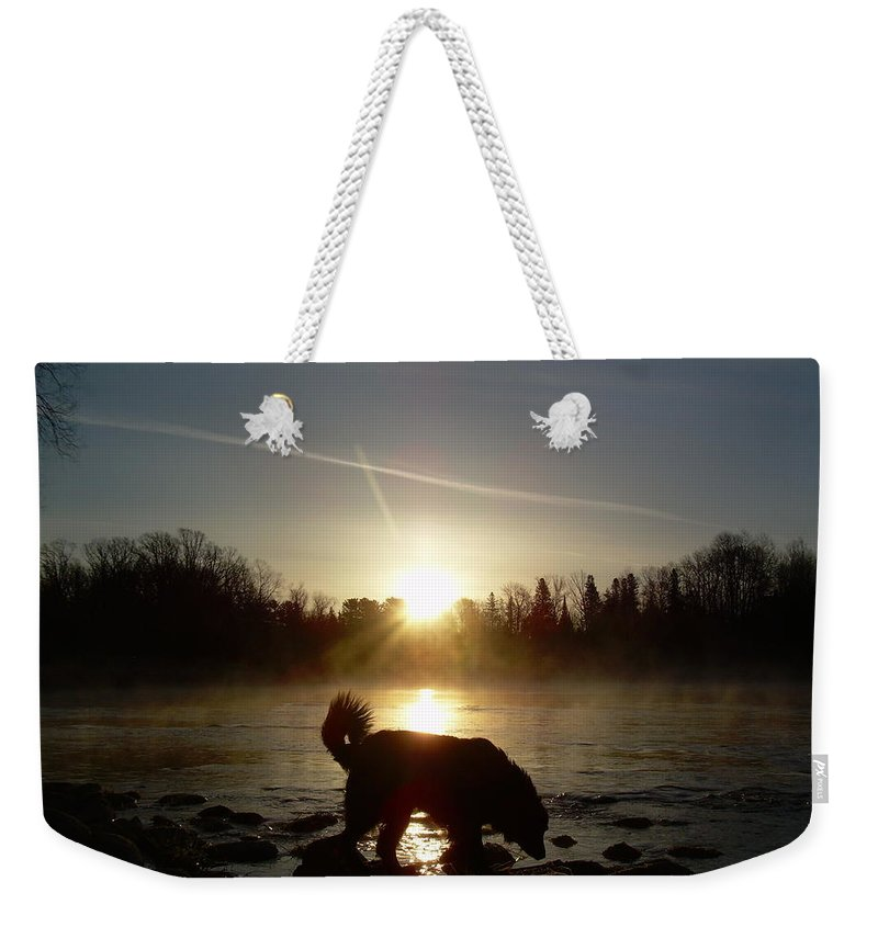 Mississippi River Weekender Tote Bag featuring the photograph Fog Over Mississippi River by Kent Lorentzen