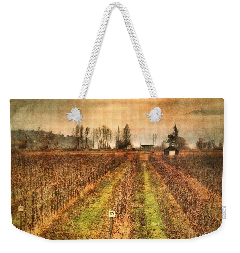 Vineyard Weekender Tote Bag featuring the photograph Foggy Afternoon On Highway 97 by Tara Turner