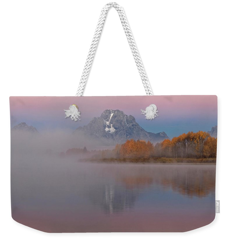 Foggy Alpen Glow At Oxbow Bend Weekender Tote Bag featuring the photograph Foggy Alpen Glow At Oxbow Bend by Wes and Dotty Weber