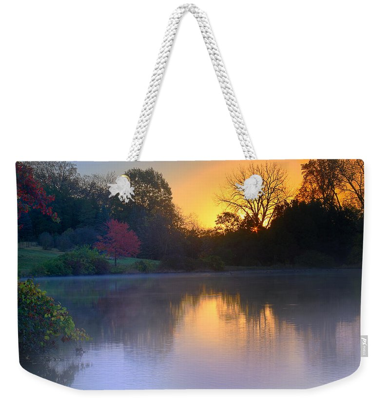 Lake Weekender Tote Bag featuring the photograph Foggy Fall Sunrise by John Absher
