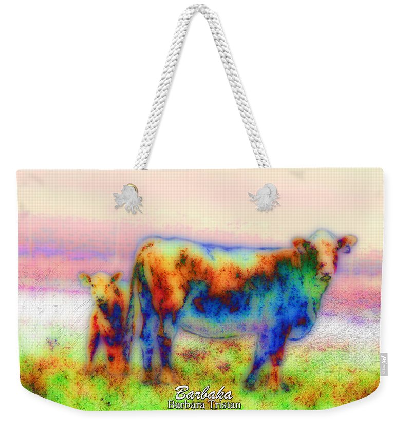 Photography Inspires Artwork Weekender Tote Bag featuring the photograph Foggy Mist Cows #0090 Arty by Barbara Tristan