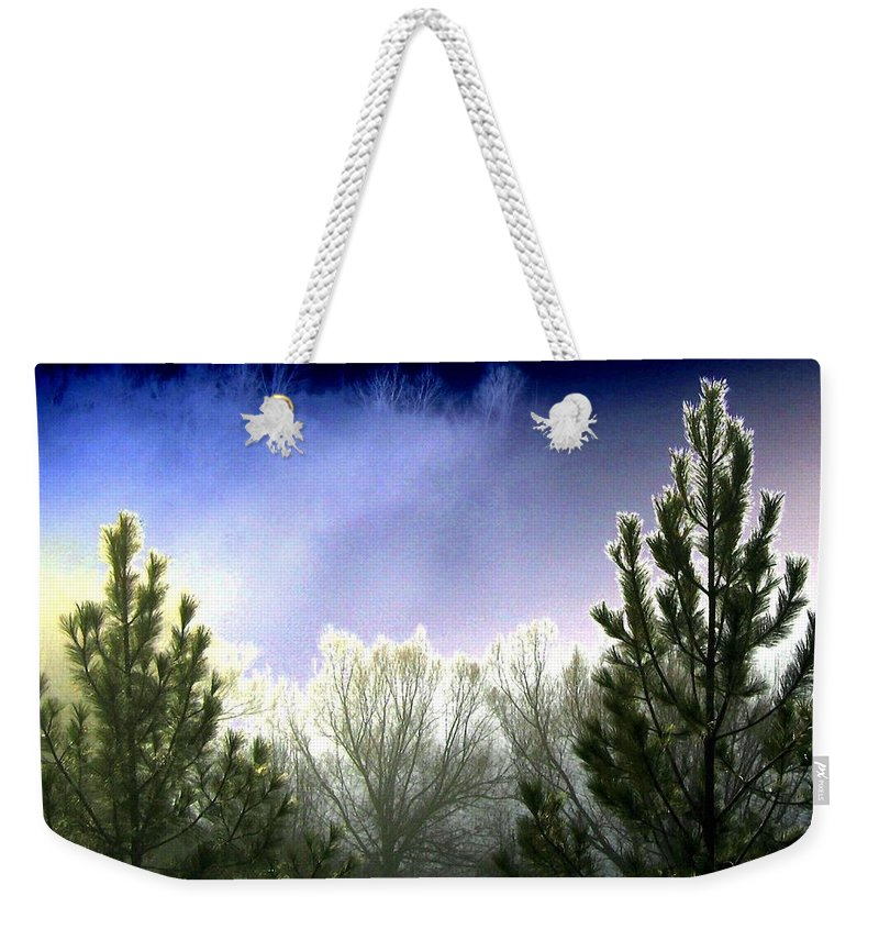 Photo Design Weekender Tote Bag featuring the digital art Foggy Moonlit Night by Will Borden