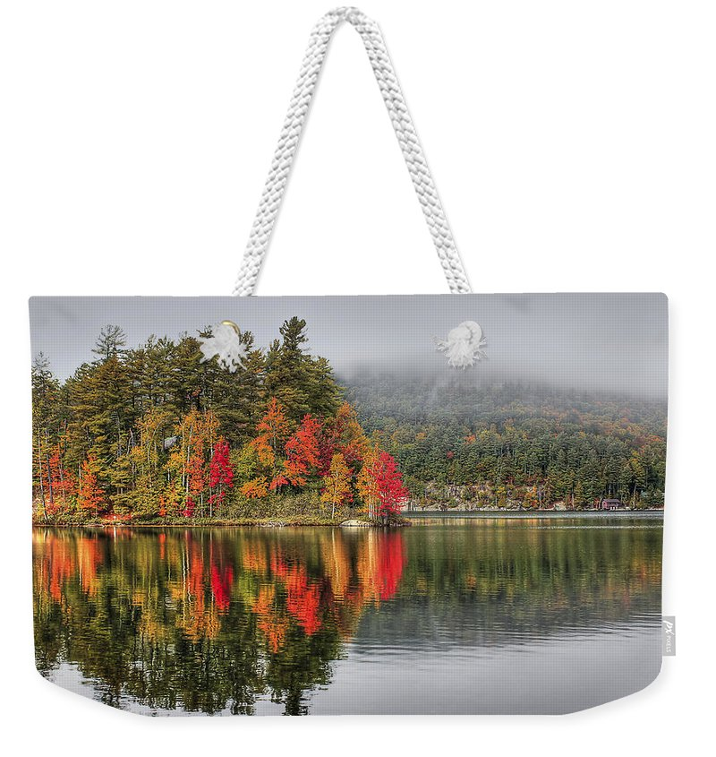 Autumn Weekender Tote Bag featuring the photograph Foggy Morning by Evelina Kremsdorf