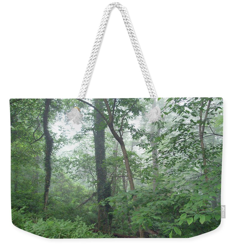 Woods Weekender Tote Bag featuring the photograph Foggy Morning In The Woods by Mother Nature
