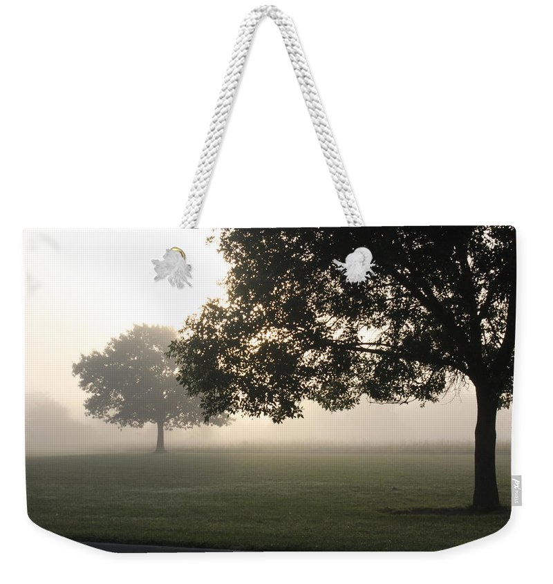 Fog Weekender Tote Bag featuring the photograph Foggy Morning by Lauri Novak