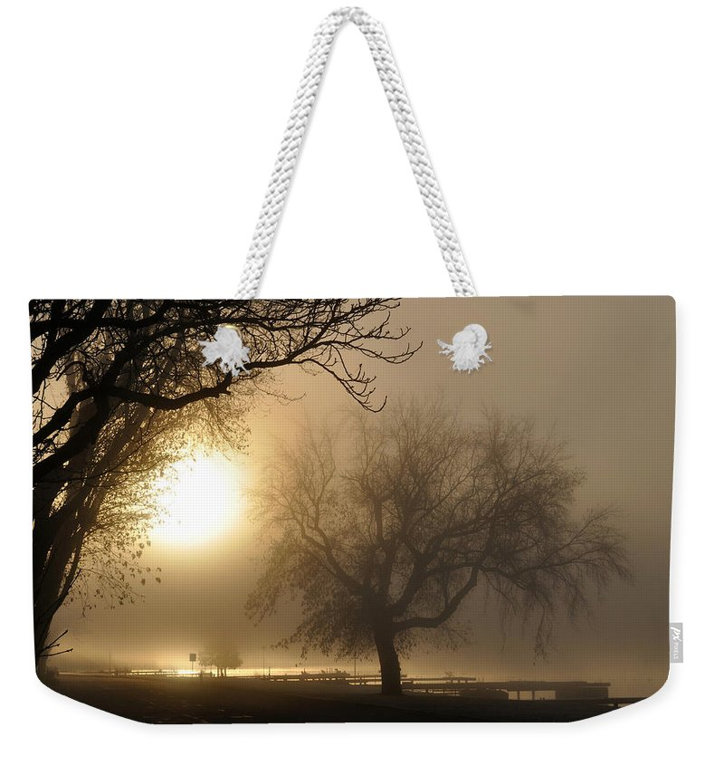 Foggy Weekender Tote Bag featuring the photograph Foggy November Sunrise On The Bay by Tim Nyberg