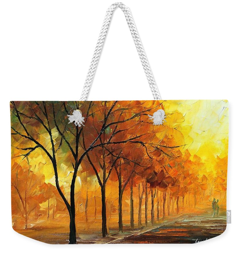 Afremov Weekender Tote Bag featuring the painting Foggy Path by Leonid Afremov