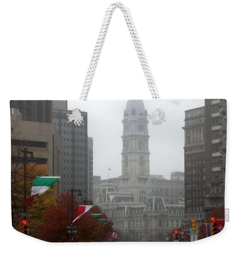 Photograph Weekender Tote Bag featuring the photograph Foggy Philadelphia by Jan Gilmore