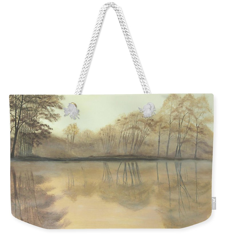 Nature Weekender Tote Bag featuring the painting Foggy Reflections by Johanna Lerwick