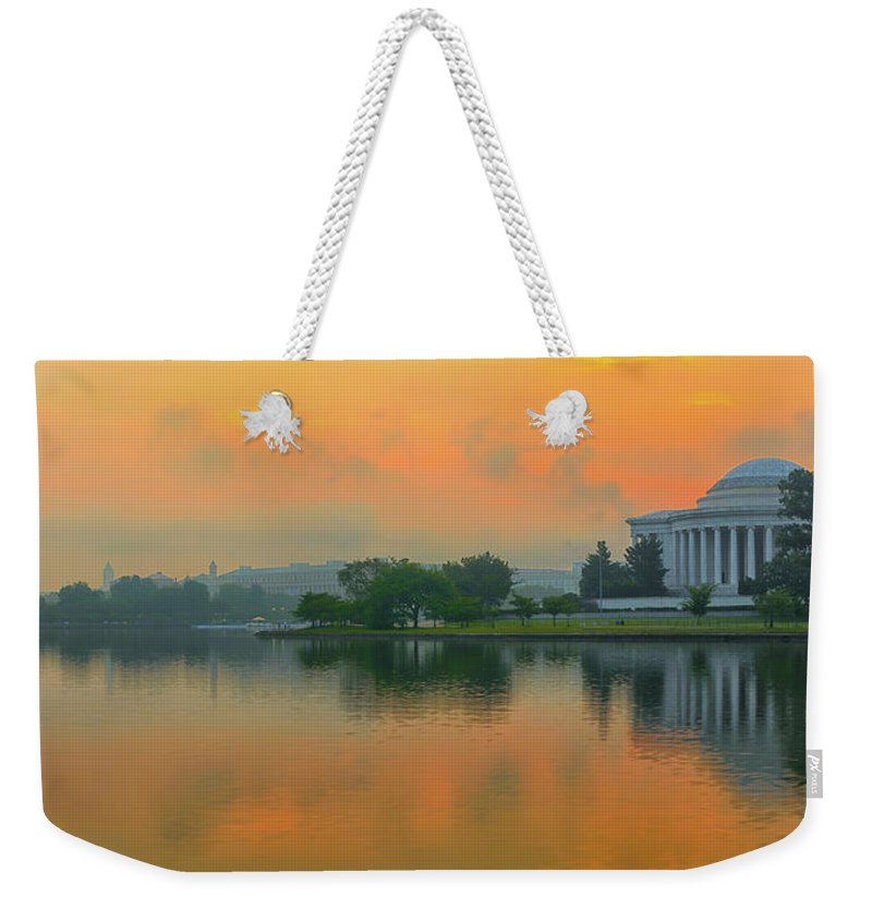 Architecture Weekender Tote Bag featuring the photograph Foggy Sunrise At The Tidal Basin by Dennis Kowalewski