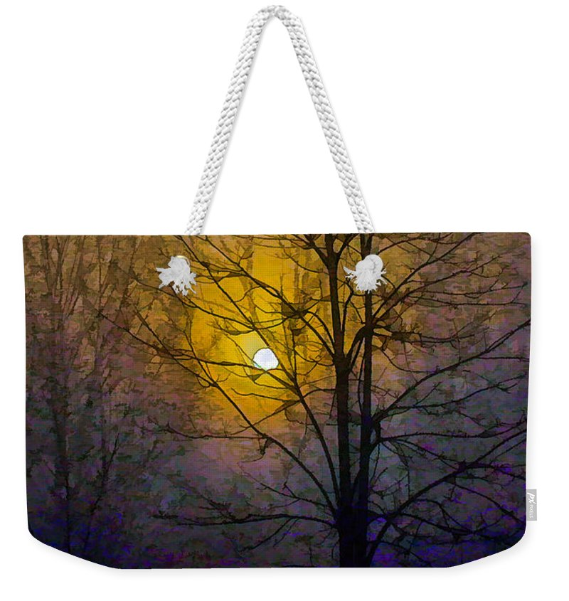 Art Weekender Tote Bag featuring the photograph Foggy Sunset by Susan Eileen Evans