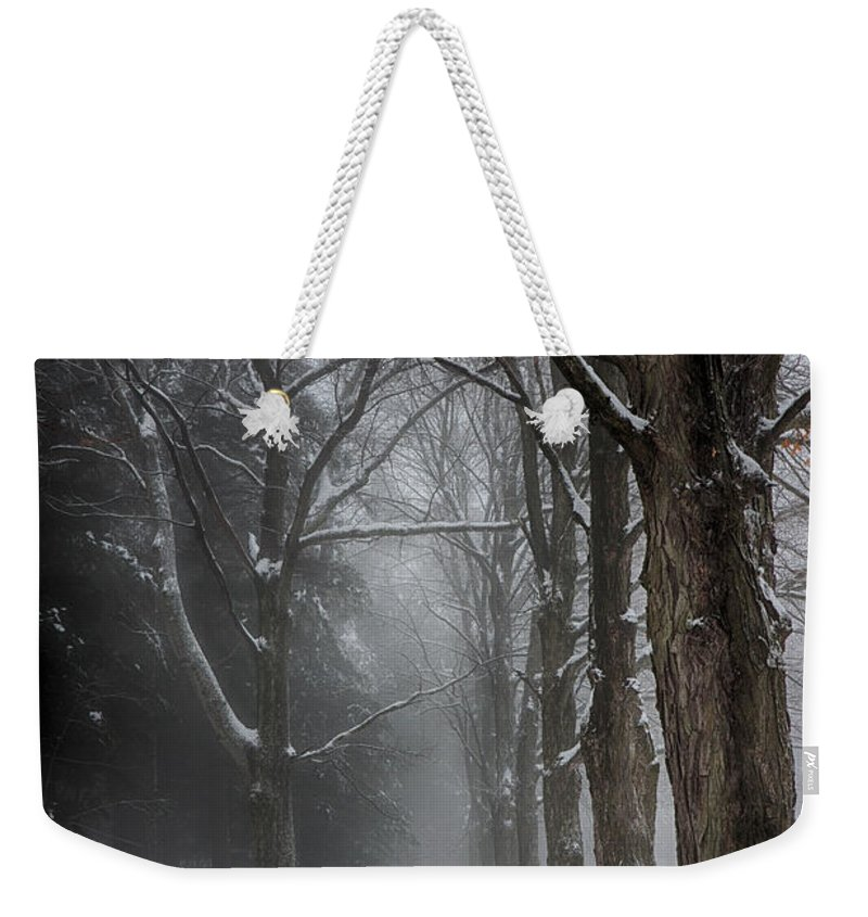 Black And White Weekender Tote Bag featuring the photograph Foggy Vermont Winter Path by Jeff Folger