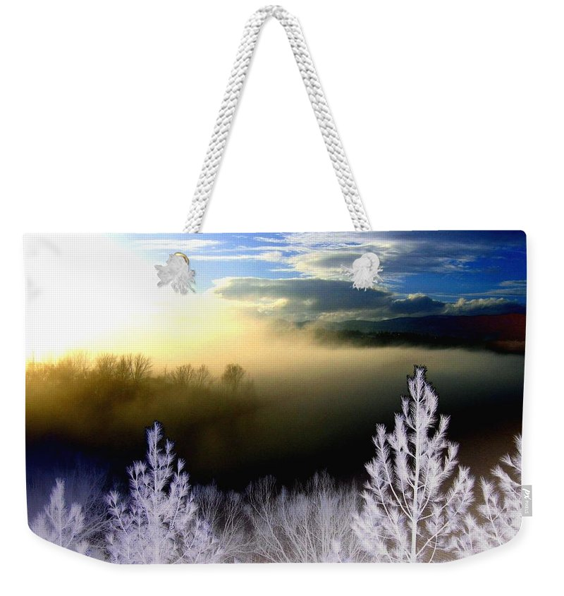 Sunset Weekender Tote Bag featuring the digital art Foggy Winter Sunset by Will Borden