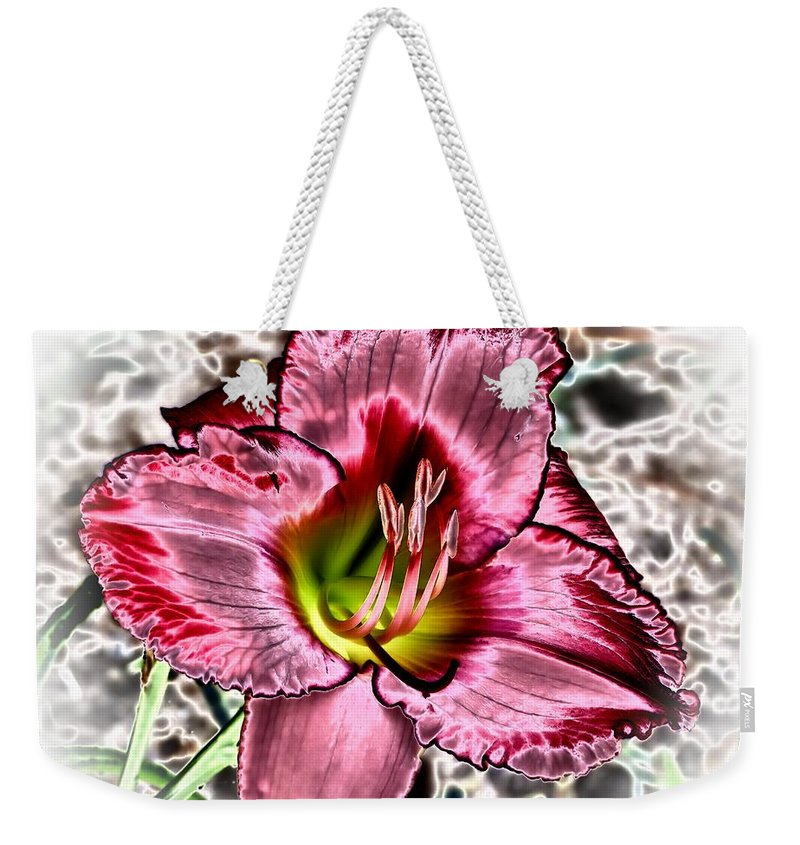 Weekender Tote Bag featuring the photograph Foiled Beauty - Daylily by MTBobbins Photography