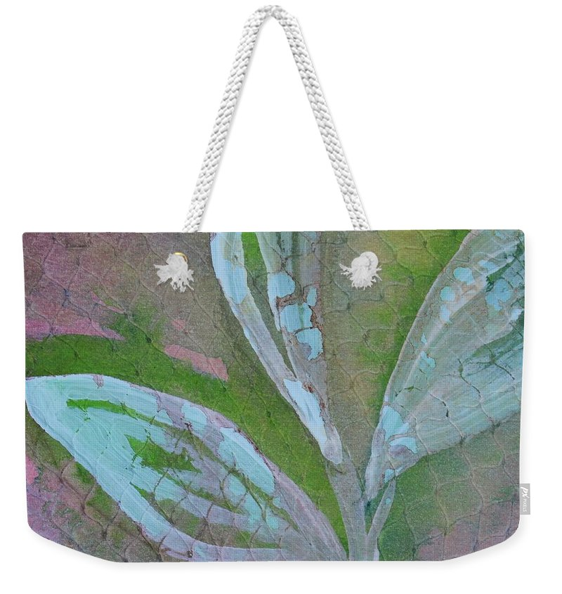 Abstract Weekender Tote Bag featuring the painting Foliage 1 by Modern Art