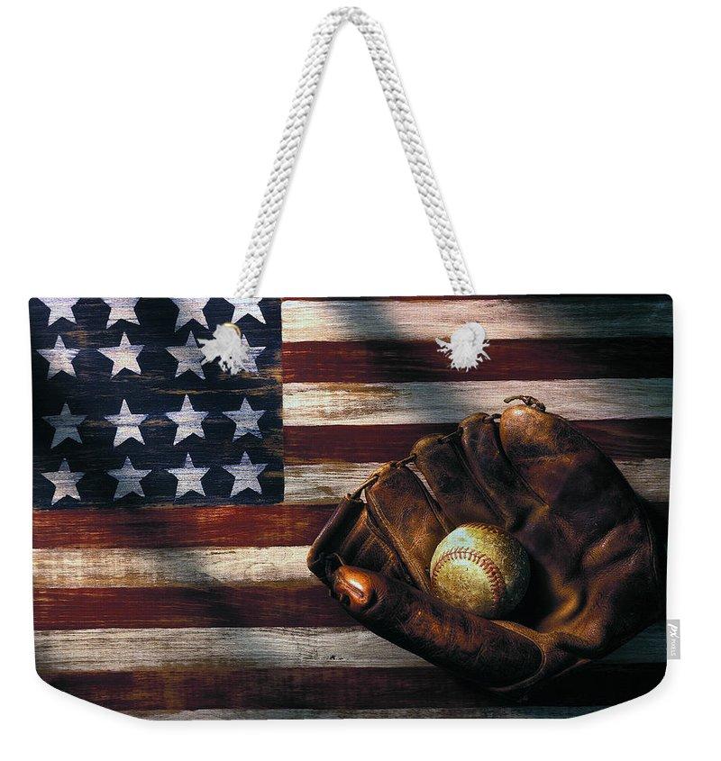 Folk Art American Flag Weekender Tote Bag featuring the photograph Folk Art American Flag And Baseball Mitt by Garry Gay