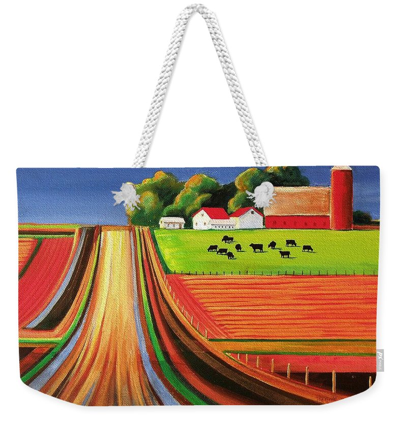 Folk Art Weekender Tote Bag featuring the painting Folk Art Farm by Toni Grote