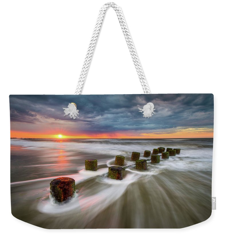 Charleston Weekender Tote Bag featuring the photograph Folly Beach Charleston Sc South Carolina Sunrise Seascape by Dave Allen