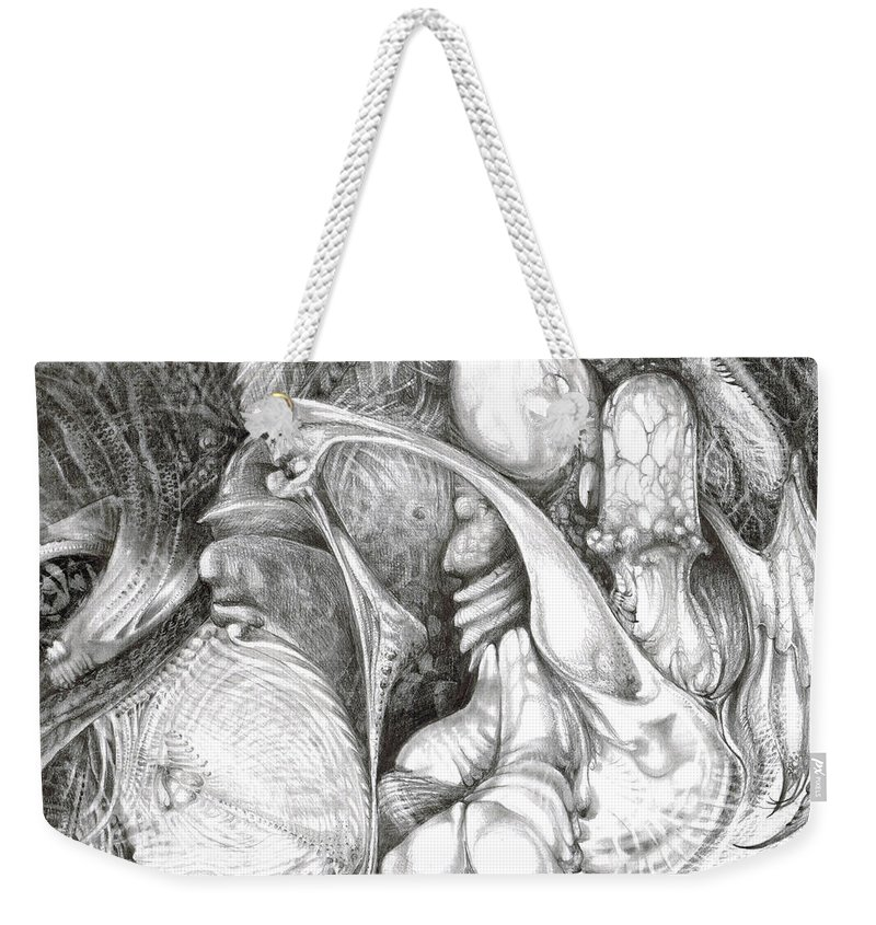 Fomorii Weekender Tote Bag featuring the drawing Fomorii Interior by Otto Rapp